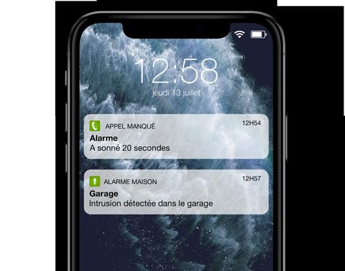 alerte alarme maison sur le smartphone