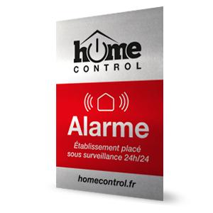plaque dissuasive pour indiquer la présence d'une alarme maison