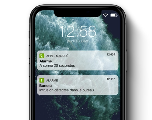 Alerte sur le Smartphone - Alarme professionnel - Home Control